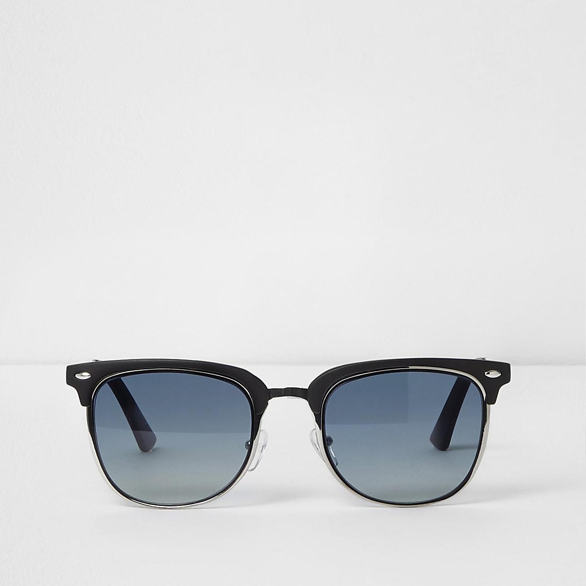 Lunettes de soleil noires à monture rétro et verres bleus
