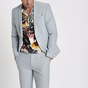 Light blue skinny fit Oxford blazer