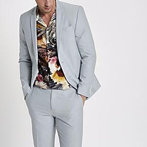Lichtblauwe skinny-fit Oxford blazer