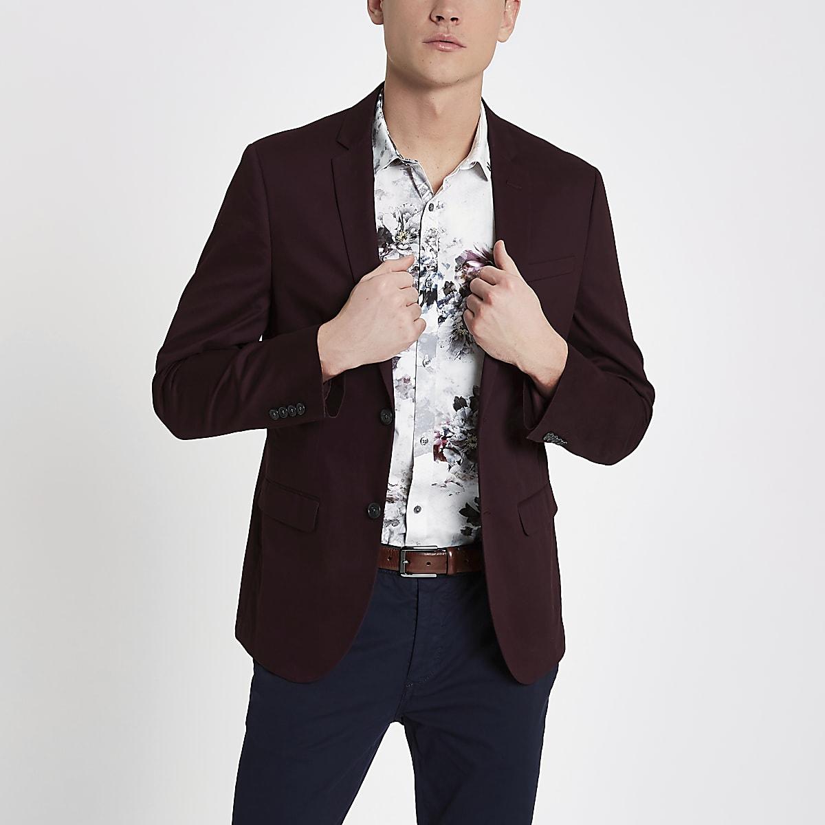 Dark red skinny fit cotton blazer