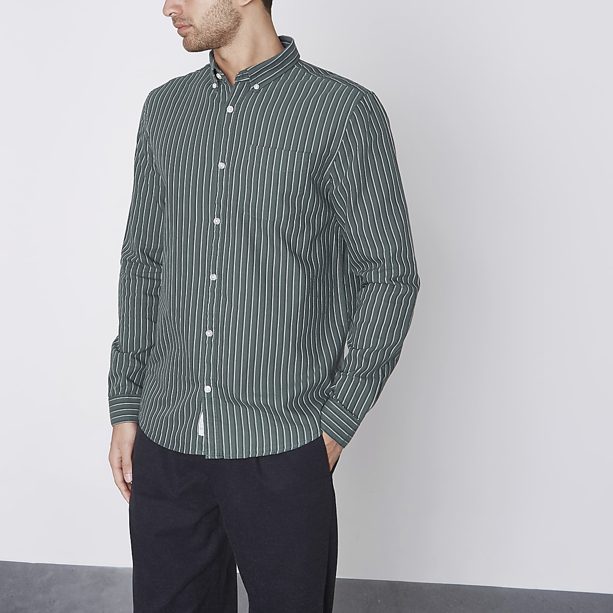 Green stripe slim fit Oxford shirt