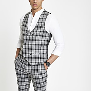 Grey check double-breasted vest