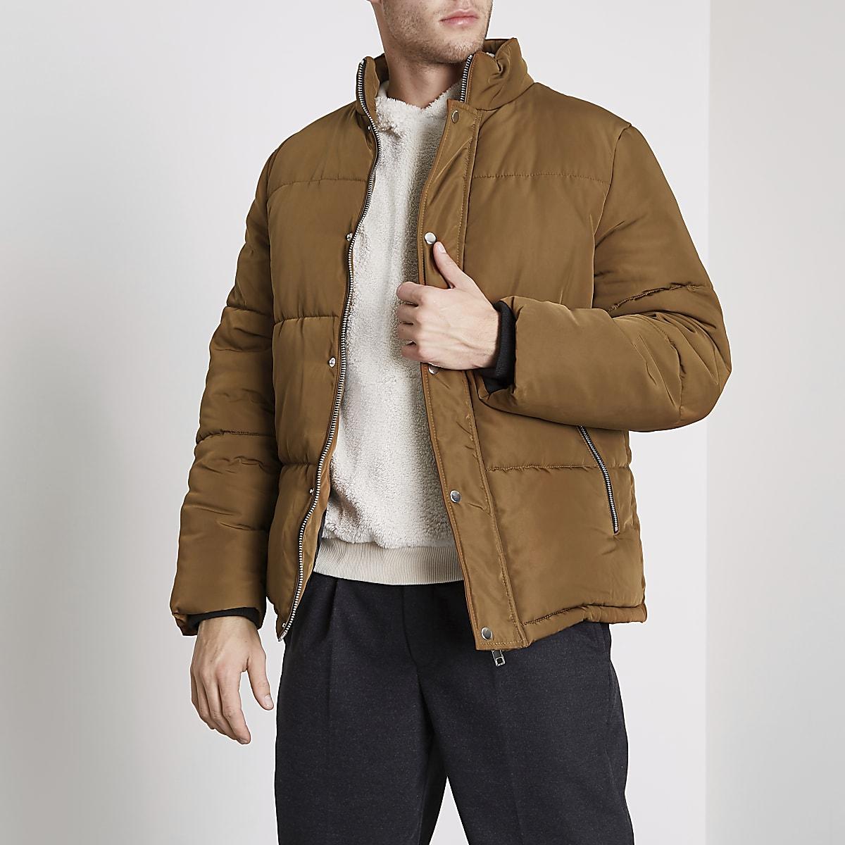 Brown puffer jacket