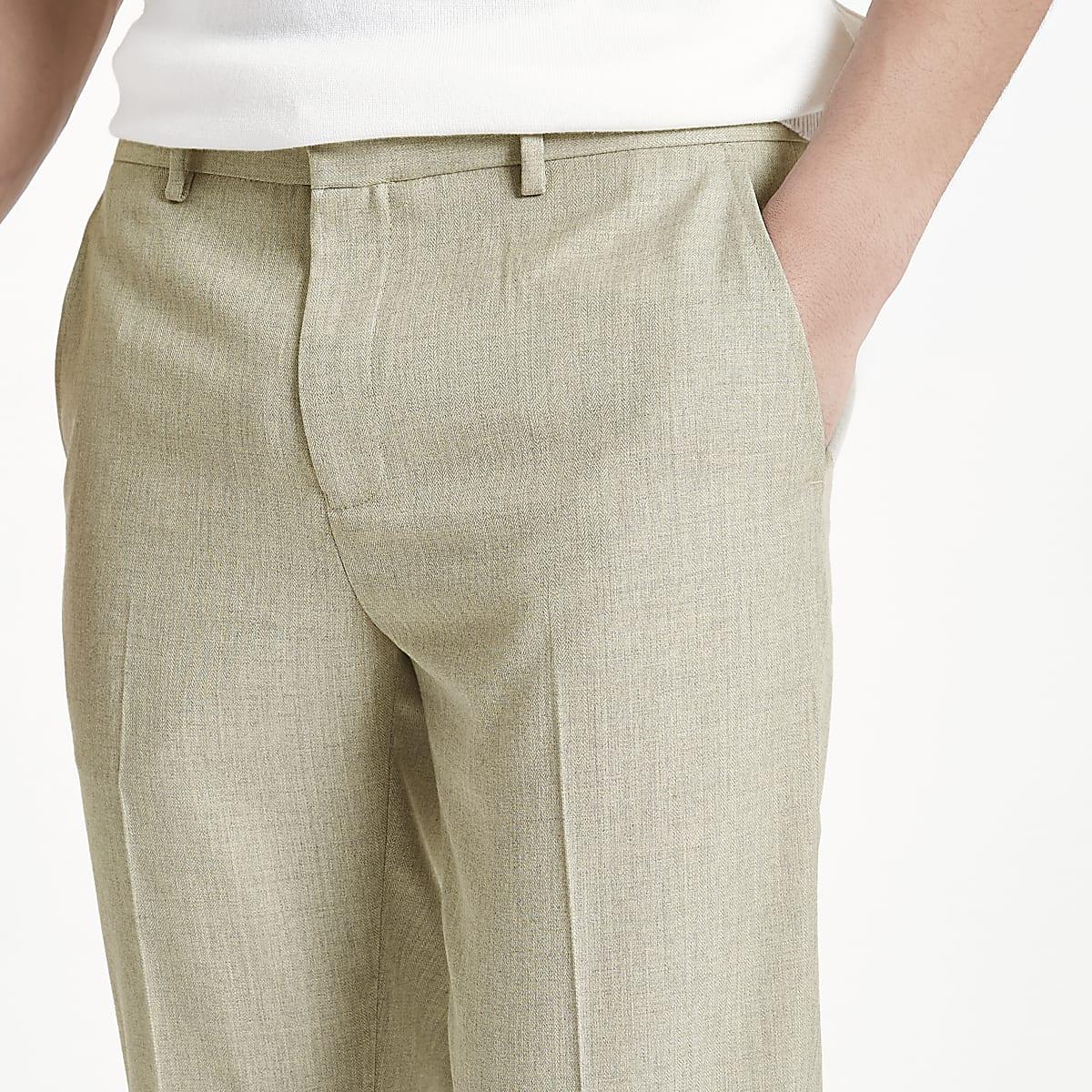 ffd68edf54 Stone herringbone skinny fit smart trousers