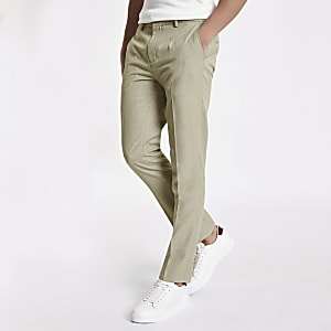 Stone herringbone skinny fit smart pants