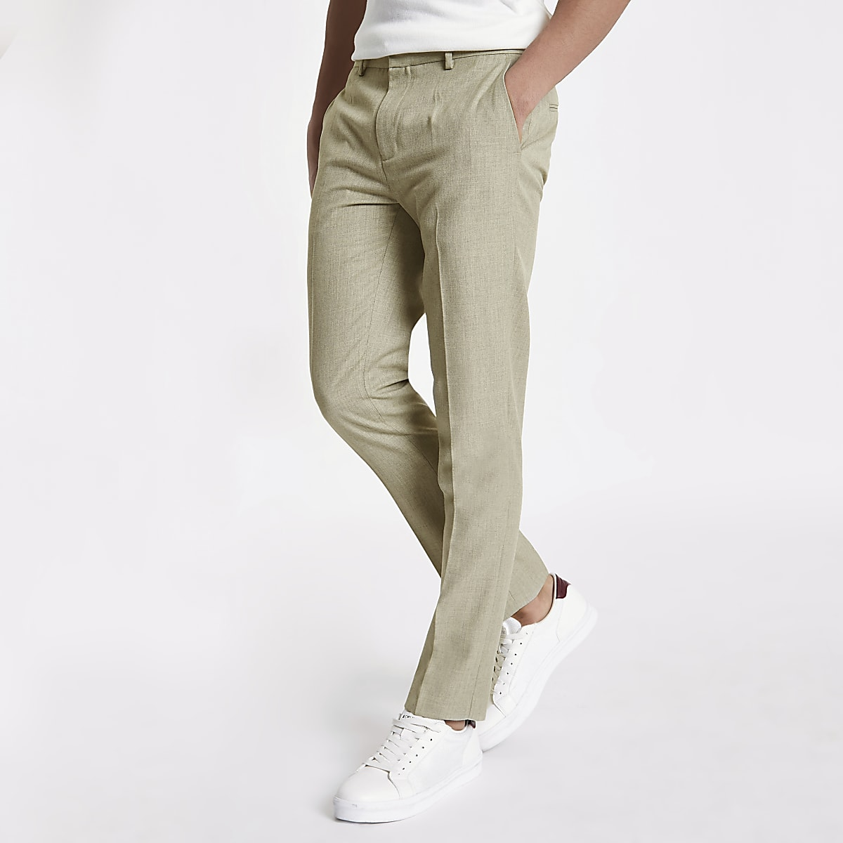 Stone herringbone skinny fit smart pants