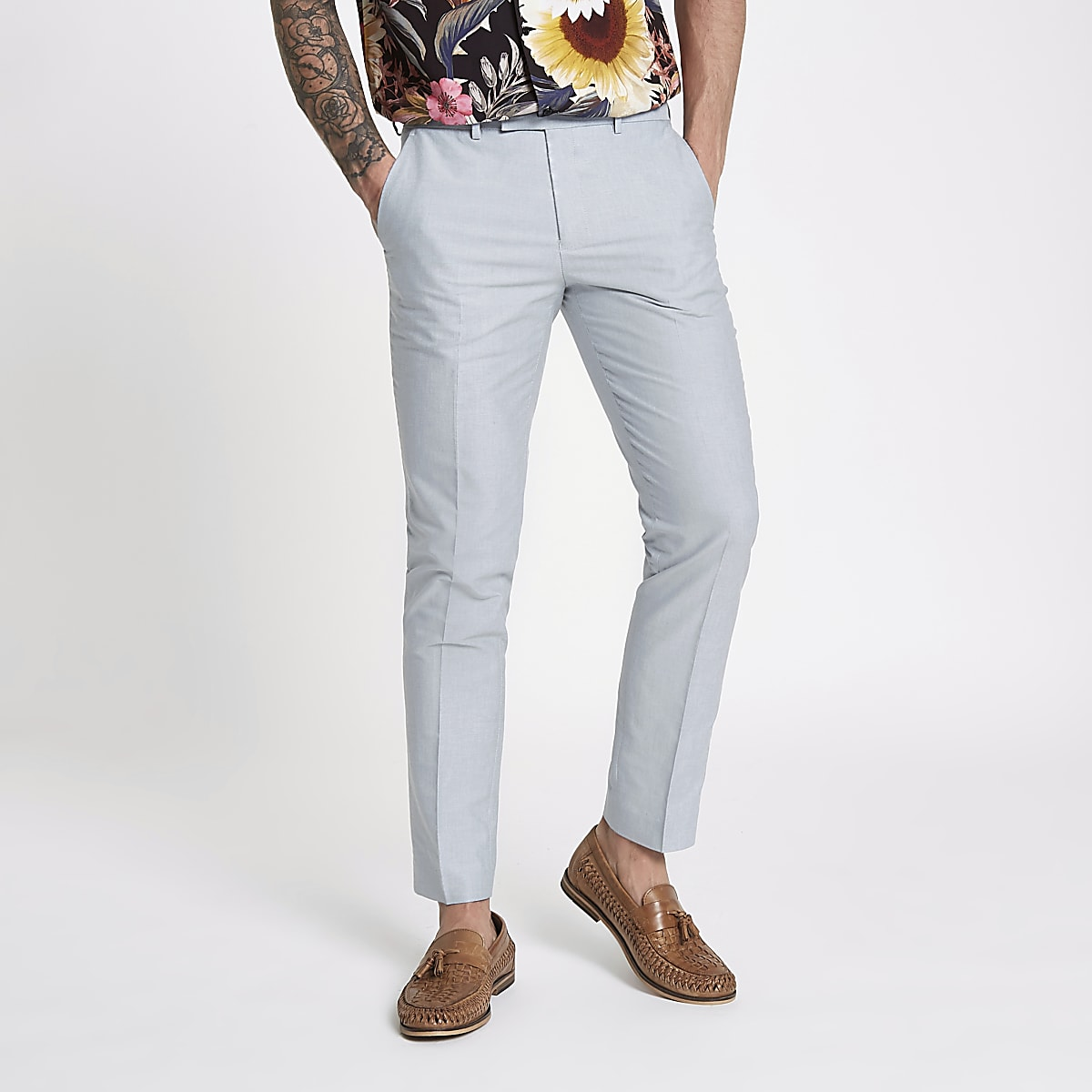 Light blue skinny fit smart trousers