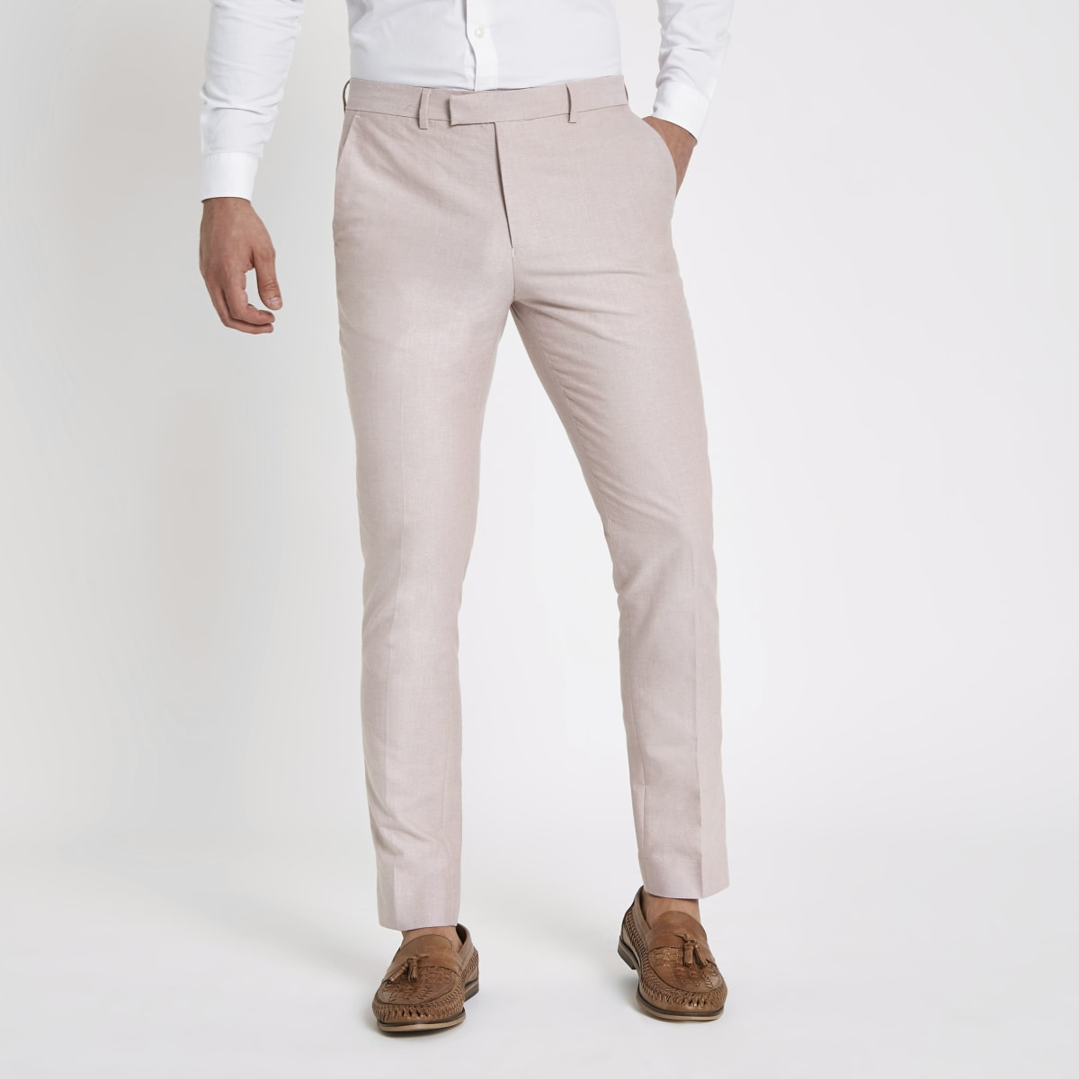 Pink skinny fit smart pants