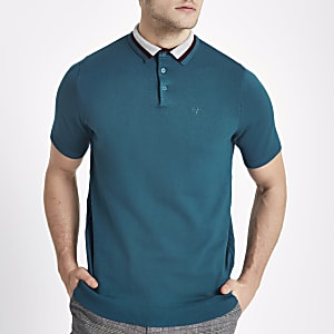 Turquoise slim fit knitted polo shirt