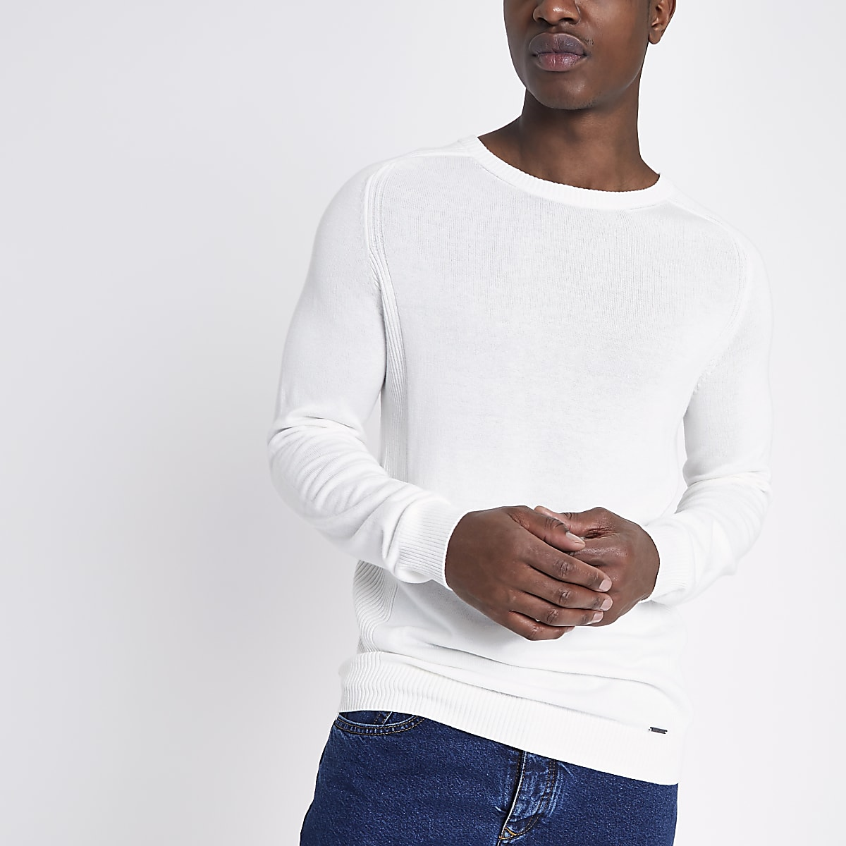 Cream ribbed panel slim fit sweater