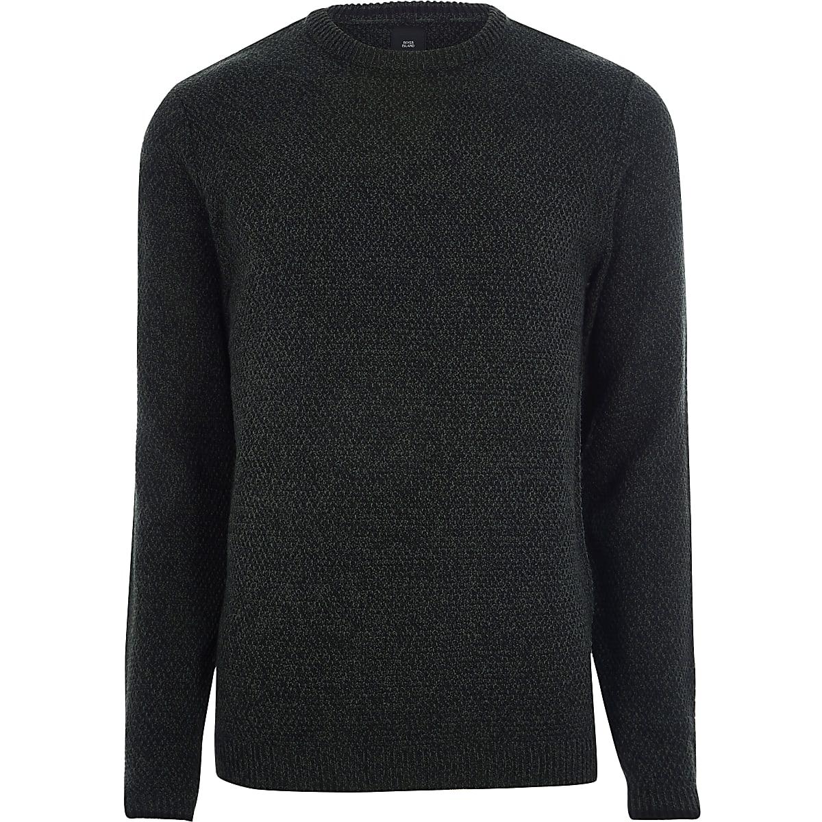 Green textured knit slim fit crew neck sweater