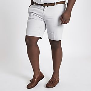 Big and Tall – Short chino grège à ceinture