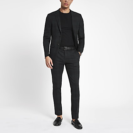 Green check super skinny fit suit trousers