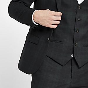 Gilet de costume à carreaux écossais vert