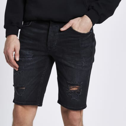 Black wash ripped skinny shorts
