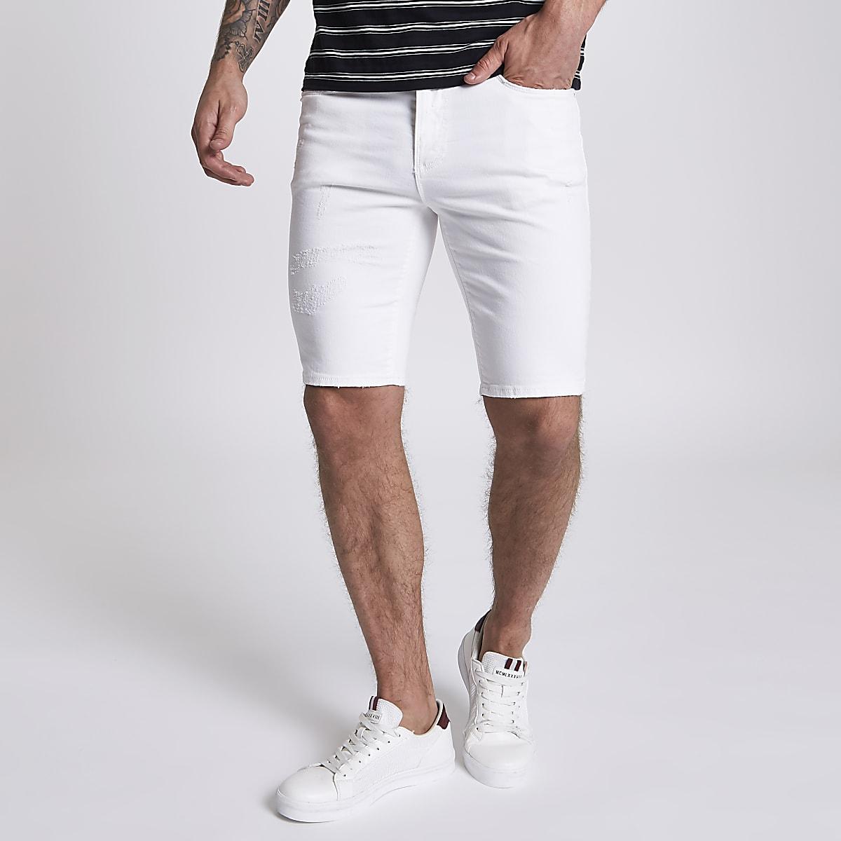 Sid – Weiße Skinny Jeansshorts im Used-Look