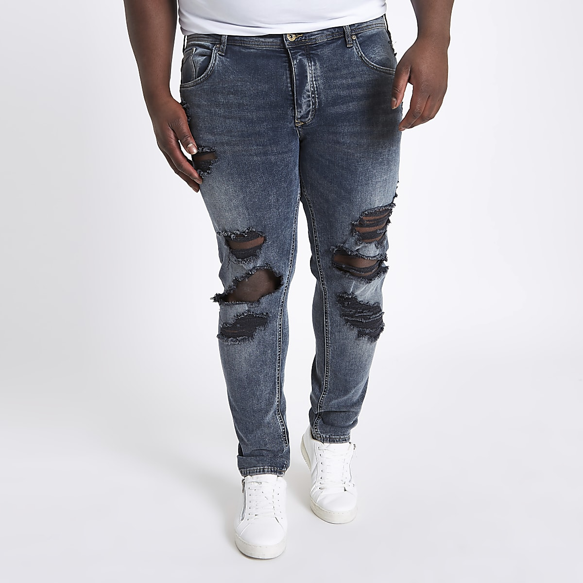 Big and Tall – Sid – Jean skinny bleu déchiré