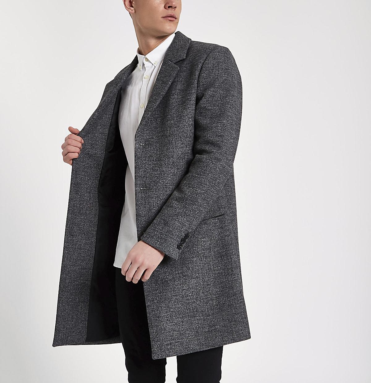 Pardessus habillé en laine gris à coupe ajustée