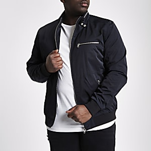 Big and Tall black racer neck jacket