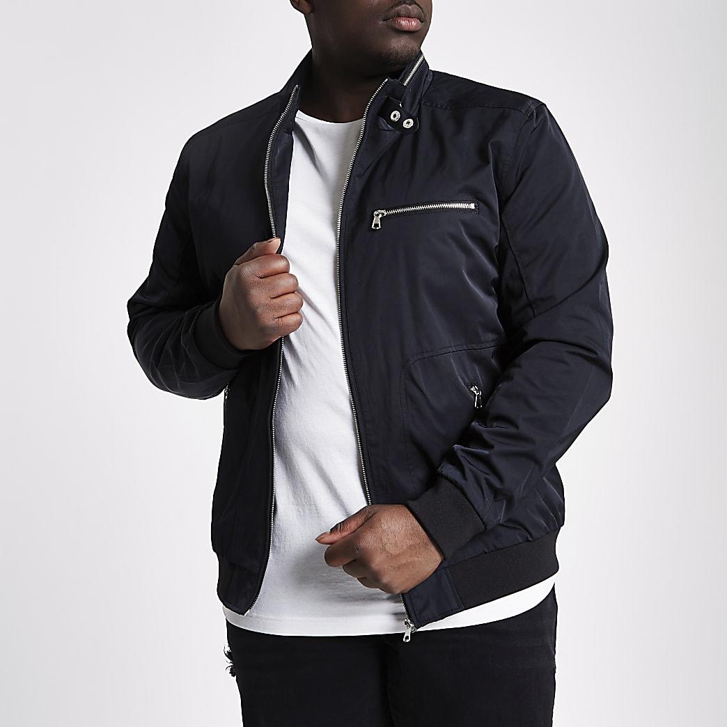 Big and Tall – Veste noire à col montant