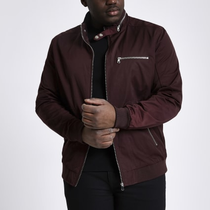 Big and Tall dark red racer neck jacket