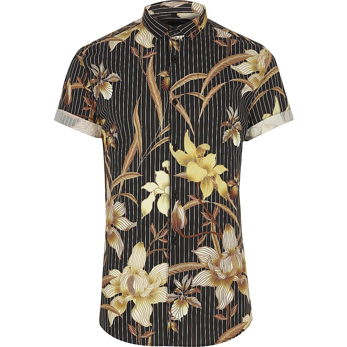 Schwarzes Muscle Fit Hemd mit Blumenmuster