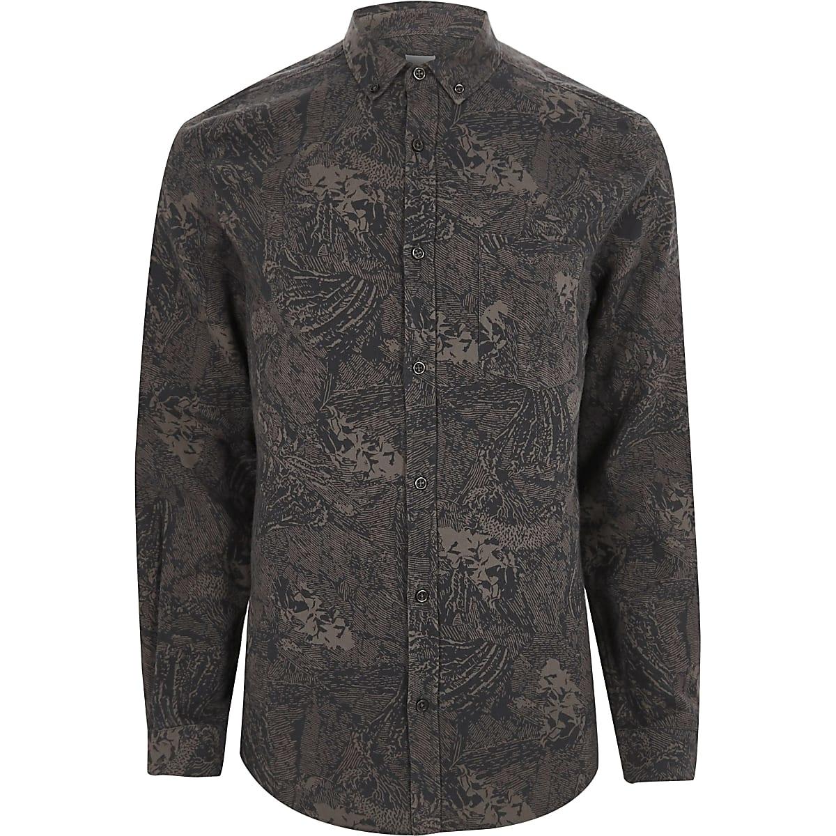 Grey abstract print slim fit shirt