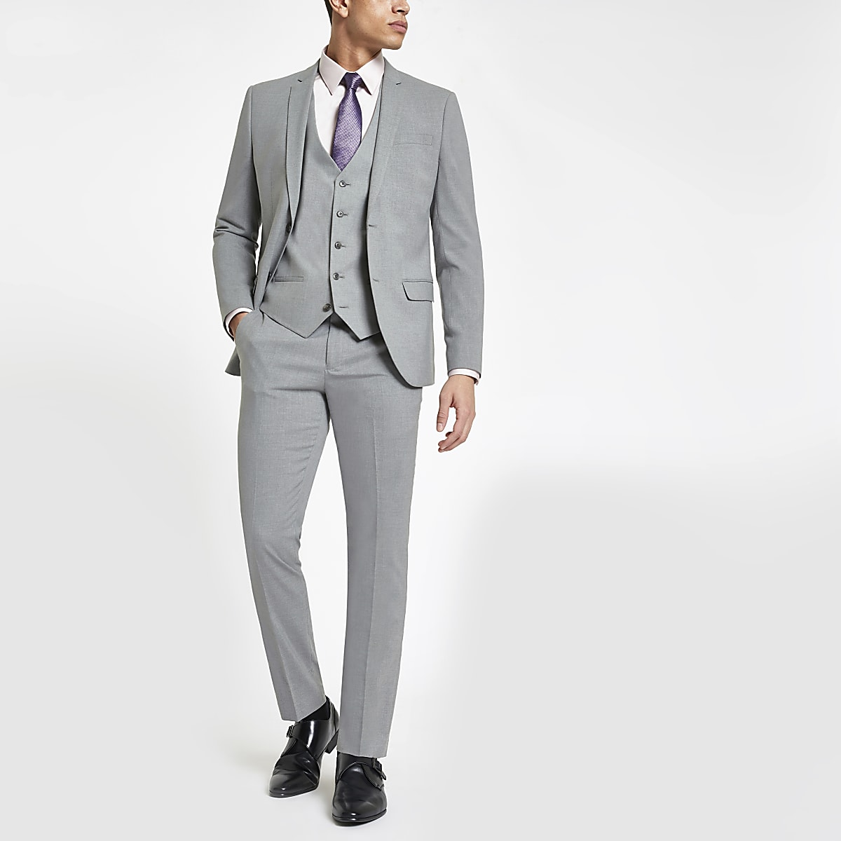 Light grey stretch skinny fit suit trousers