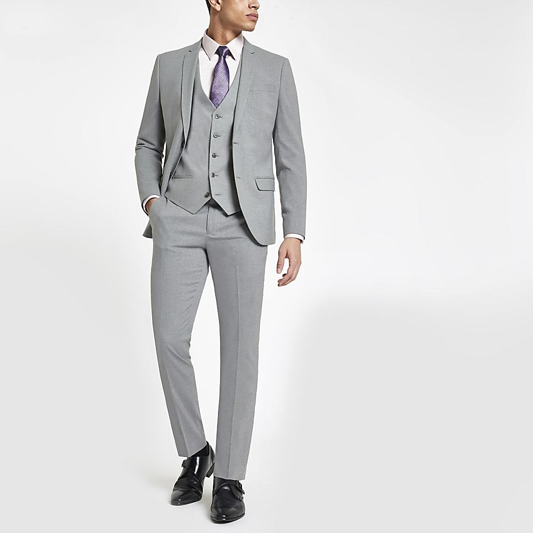 Pantalon de costume skinny stretch gris clair