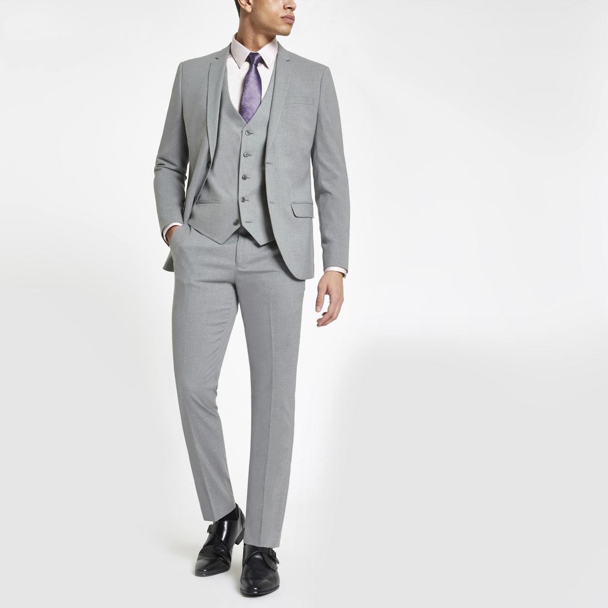 Light grey stretch skinny fit suit pants