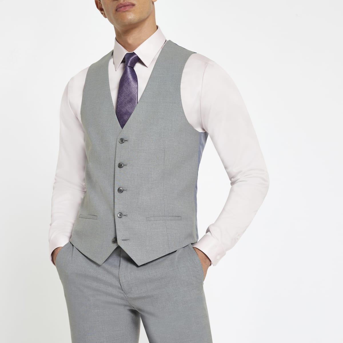 Gilet gris clair habillé