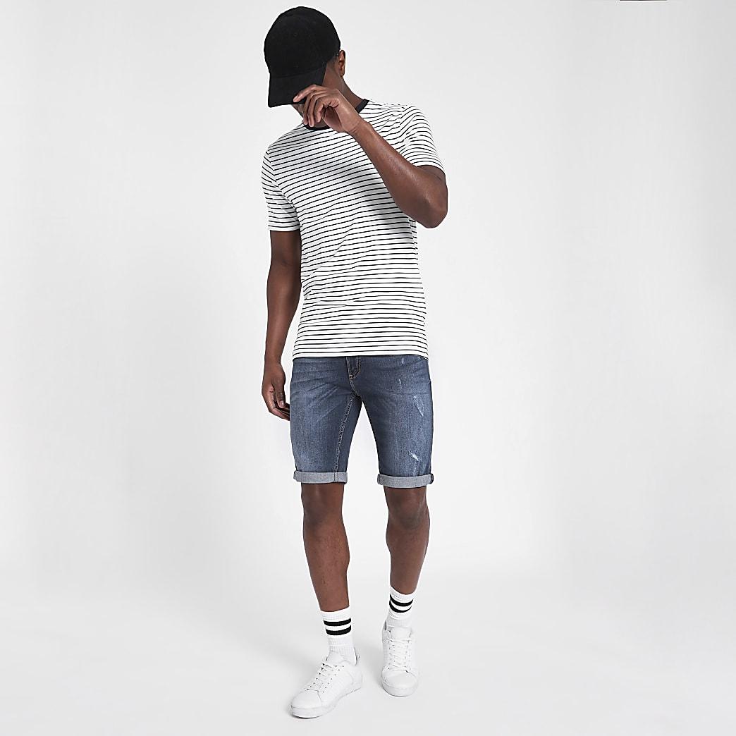 Sid - Middenblauwe distressed skinny denim short