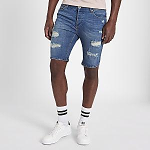 Sid – Short skinny en jean bleu déchiré