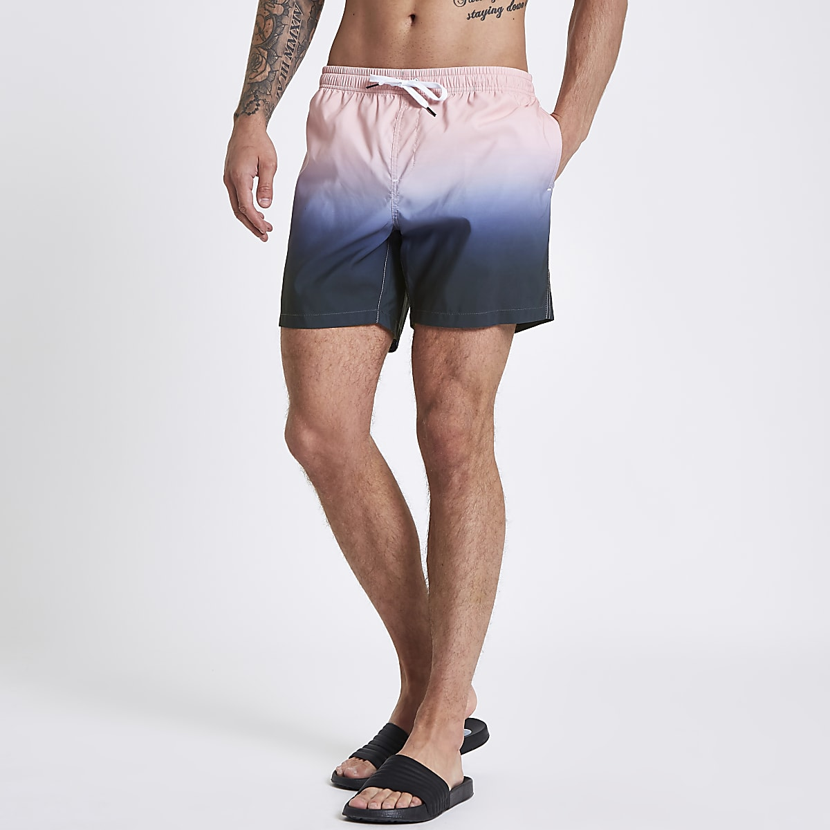 Pink and blue dip dye swim trunks