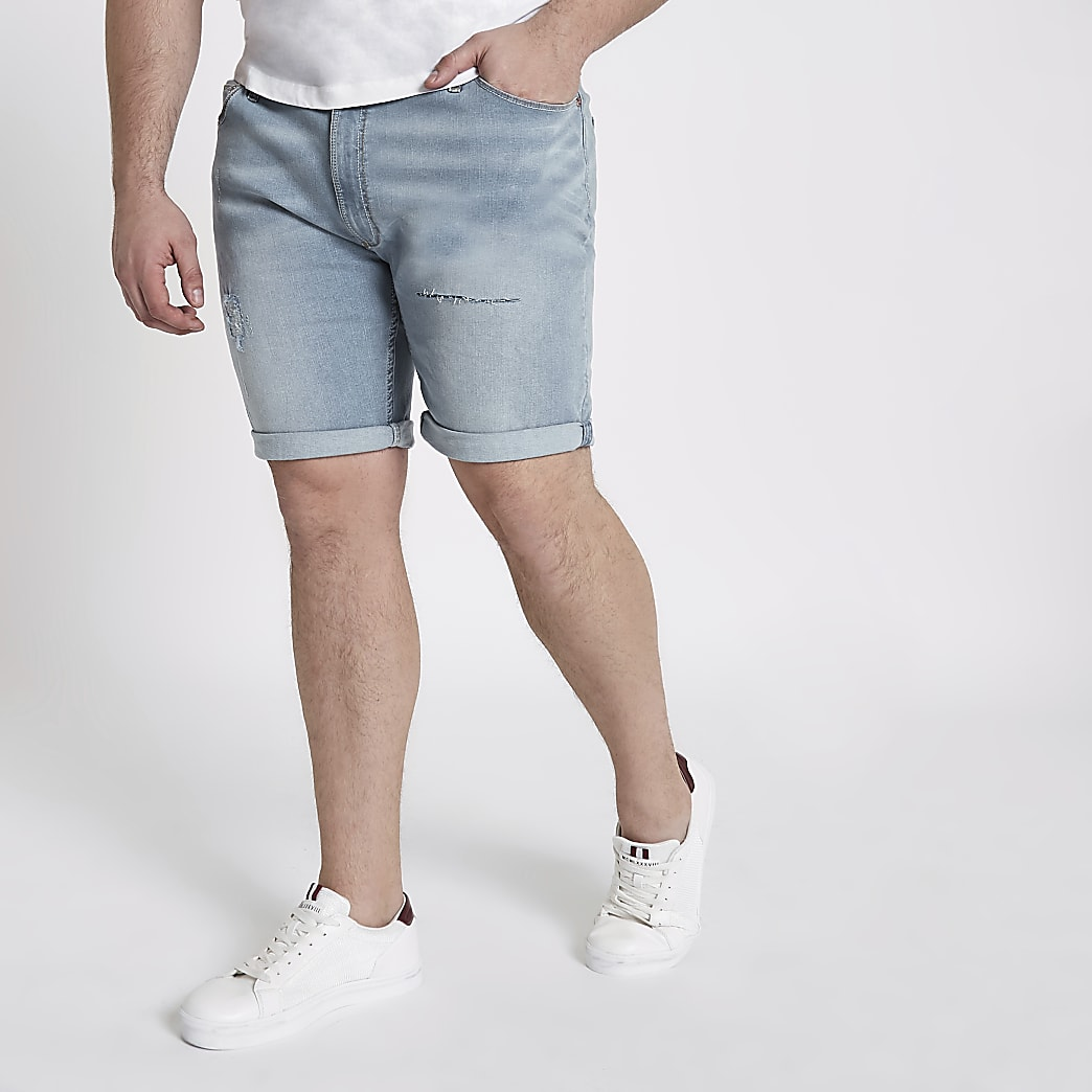 Big and Tall light blue ripped denim shorts