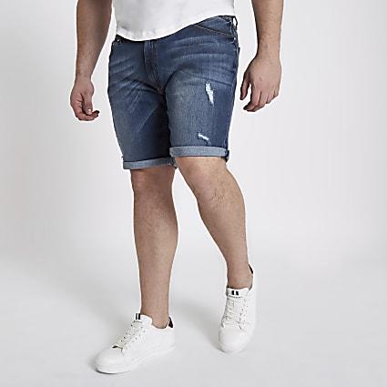Big and Tall blue ripped denim shorts