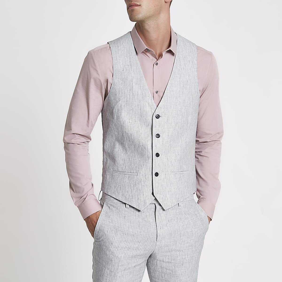 Grey linen stripe waistcoat