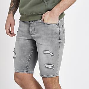 Sid – Short en jean skinny gris déchiré