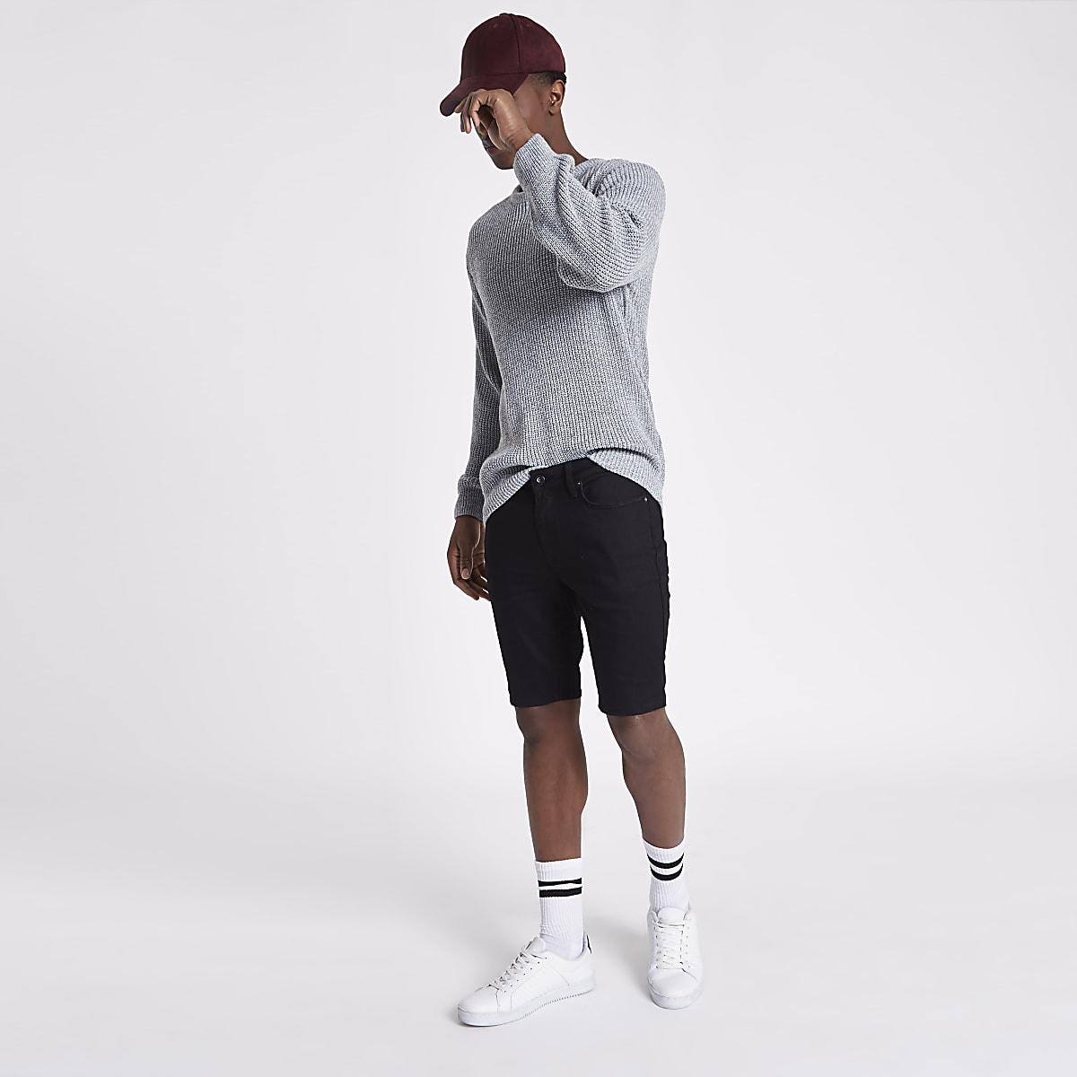 Black Sid skinny denim shorts