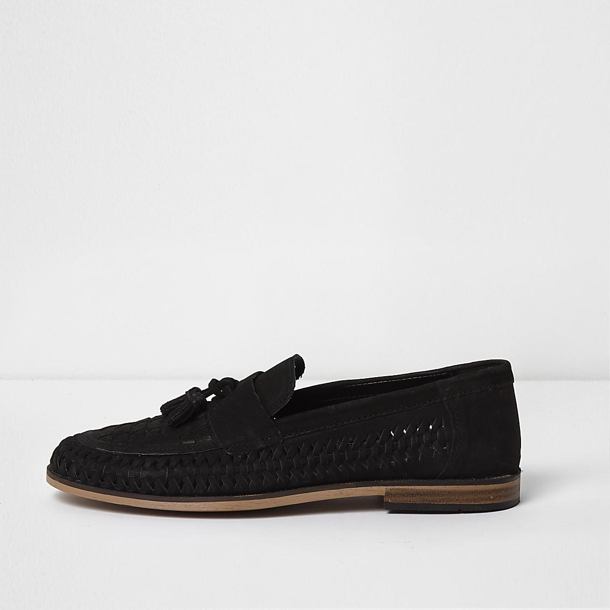 Black suede woven tassel loafers