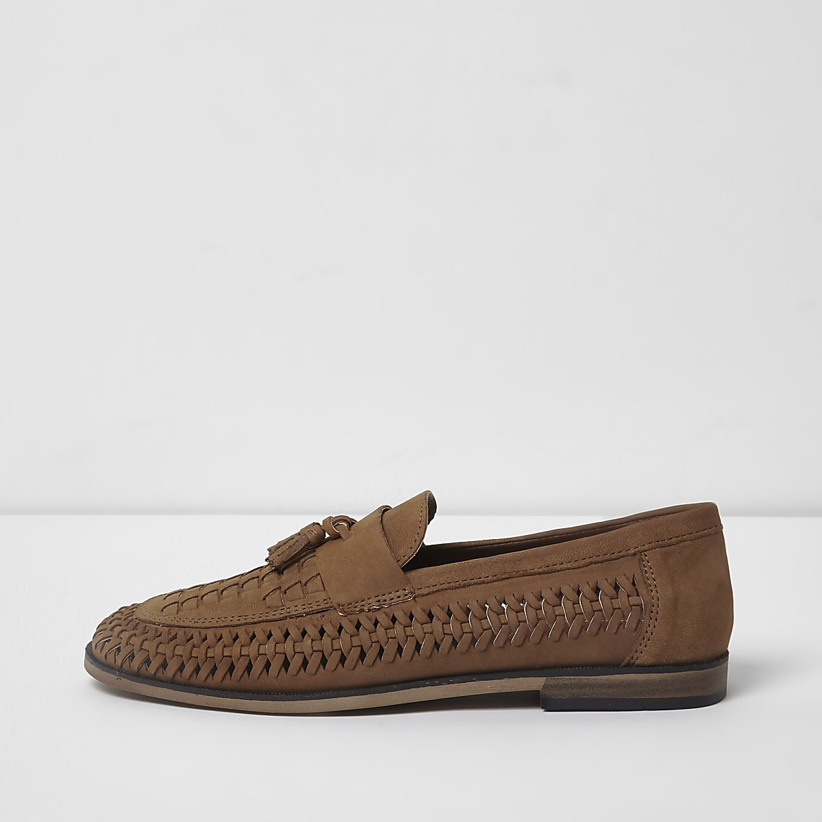 Tan leather woven tassel loafers