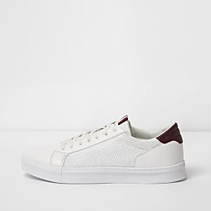 White mesh side panel lace-up trainers