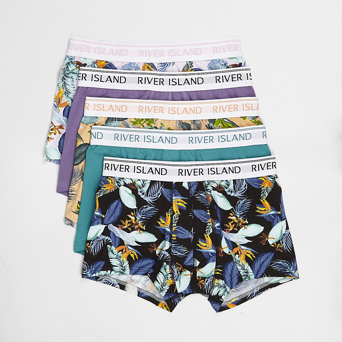Pink floral tropical print hipsters 5 pack