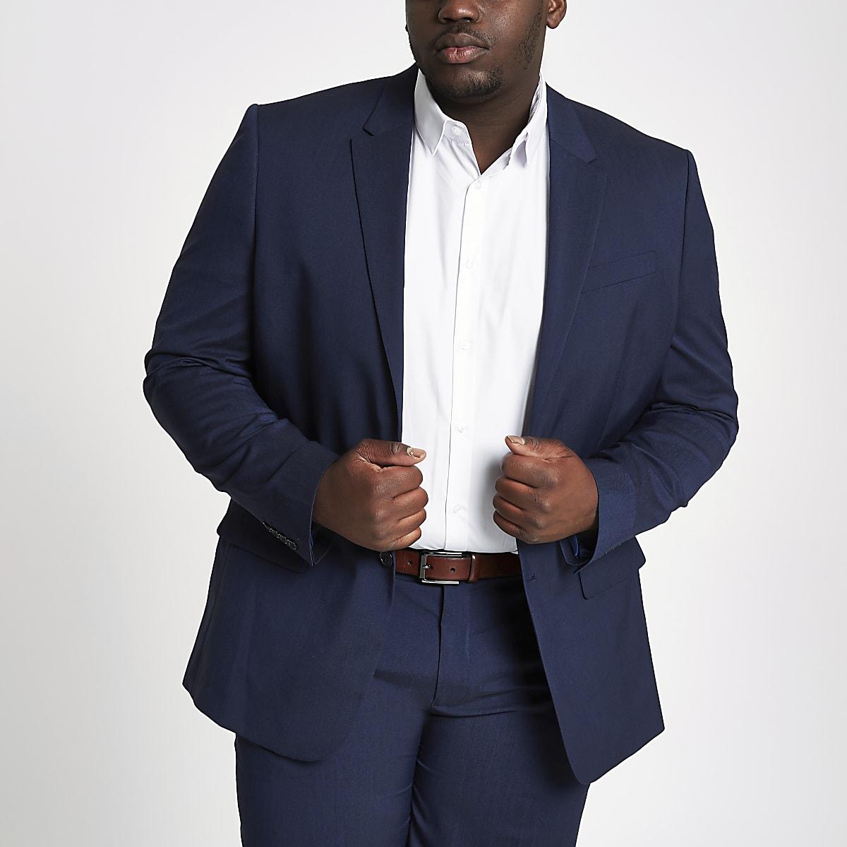 Big and Tall – Veste de costume slim bleu marine