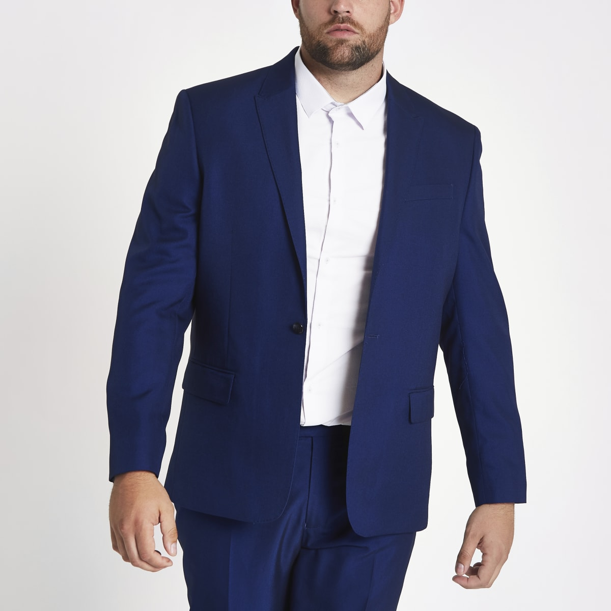 Big & Tall - Blauw slim-fit colbert
