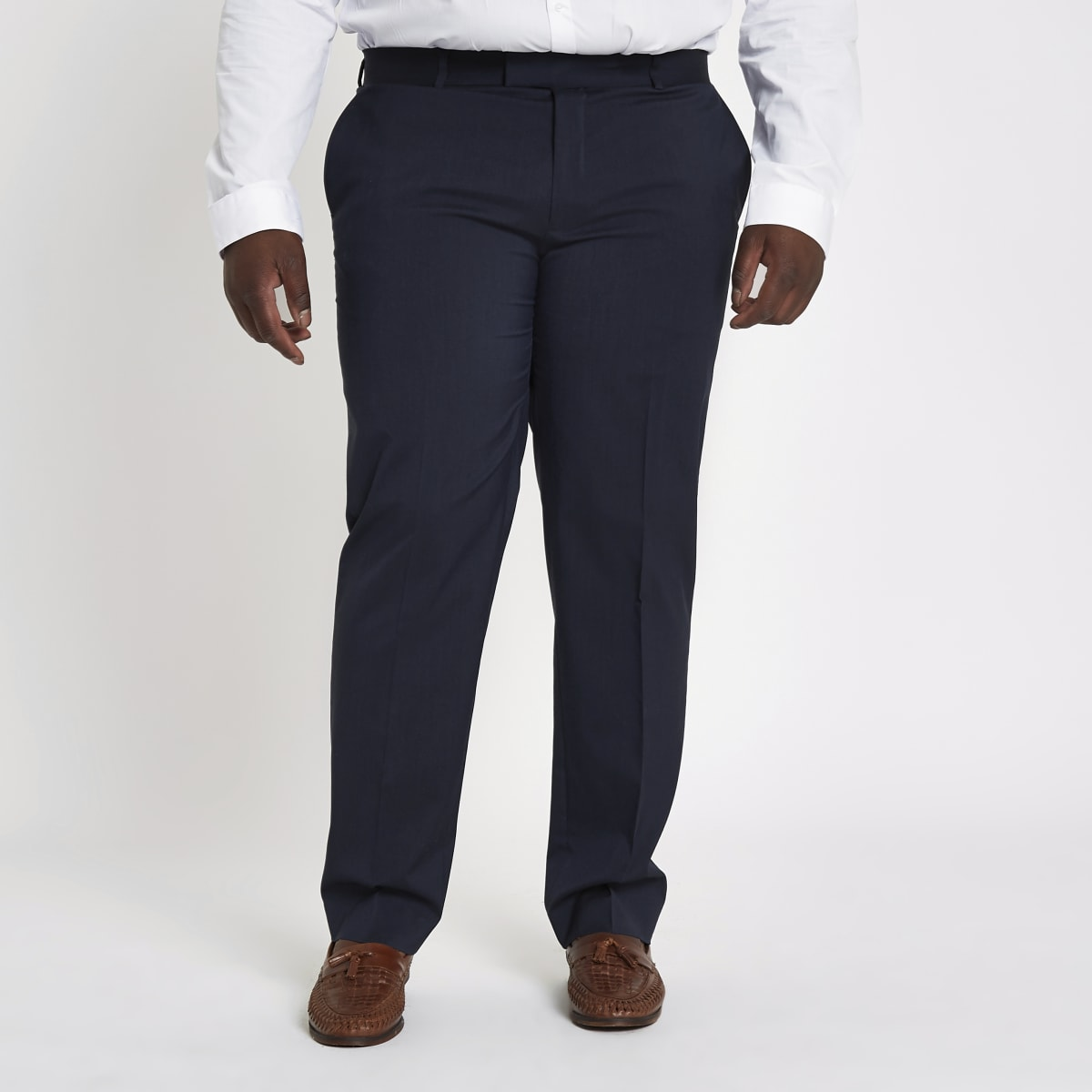 Big and Tall navy slim fit suit trousers