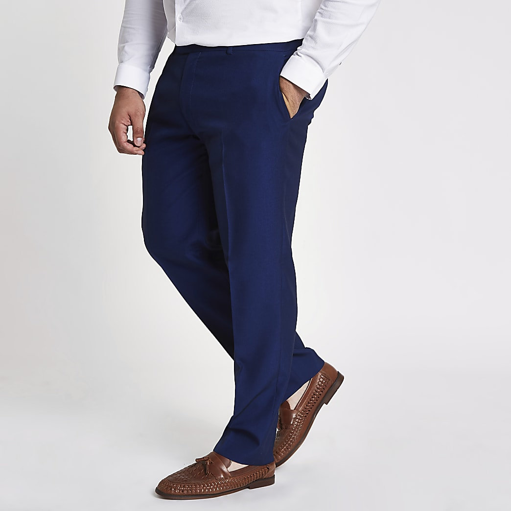 Big and Tall blue slim fit suit trousers