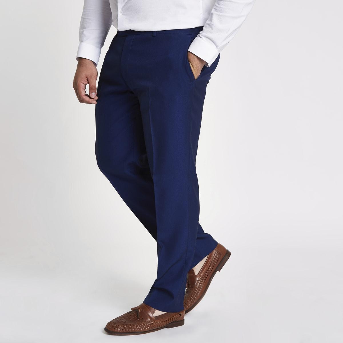 Big & Tall - Blauwe slim-fit pantalon