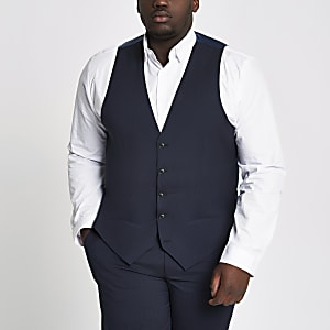 Big and Tall navy waistcoat