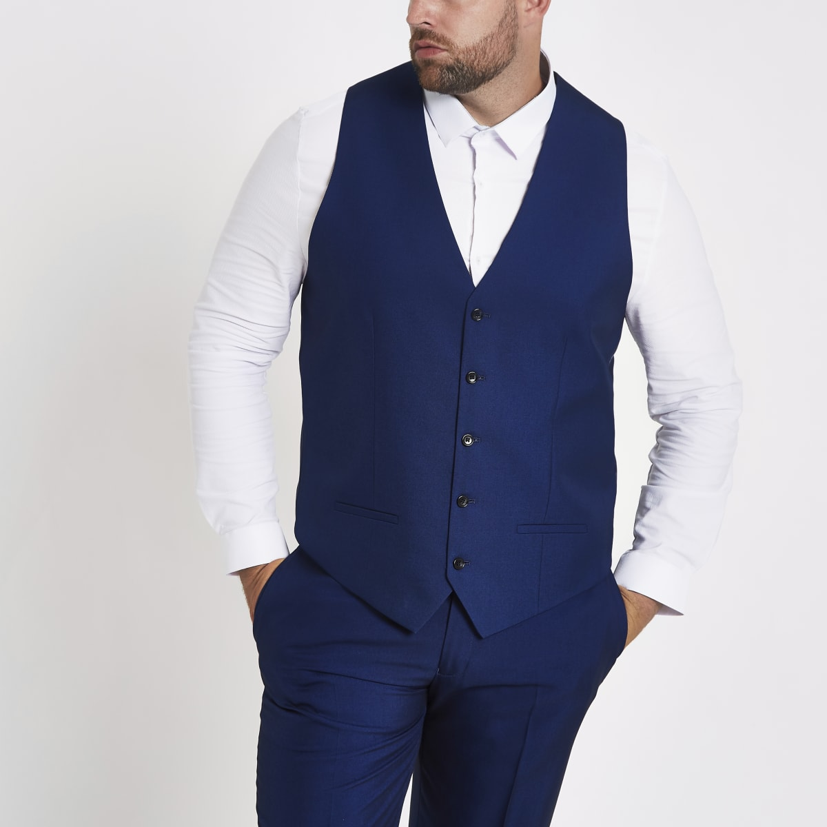 Big and Tall - Blauw single-breasted gilet